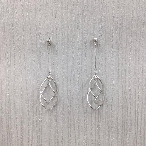 double twist  drop wire earring   silver