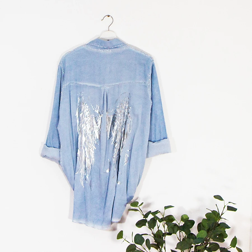 Vintage wash shirt with silver hot print angel wings - Blue