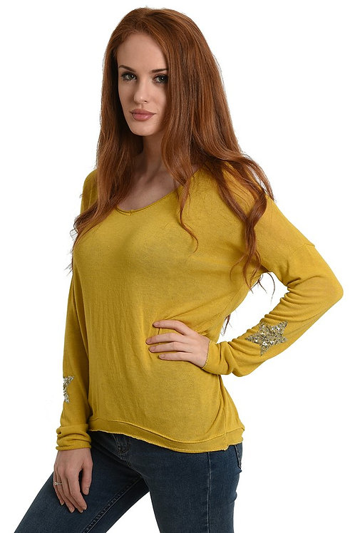 A soft top, with a silver sequin star patch sleeve - Mustard