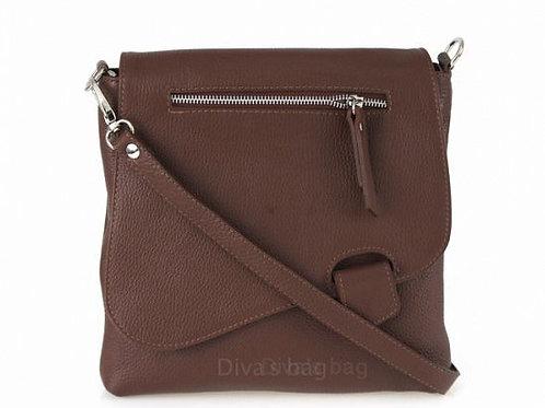 Slim Cross Body Bag - Chocolate Italian Leather