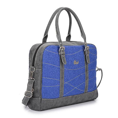 Blue Textured Wool Shoulder Laptop Bag