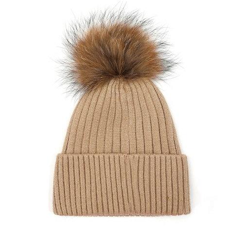 Pom Pom Knit Hat - Cream