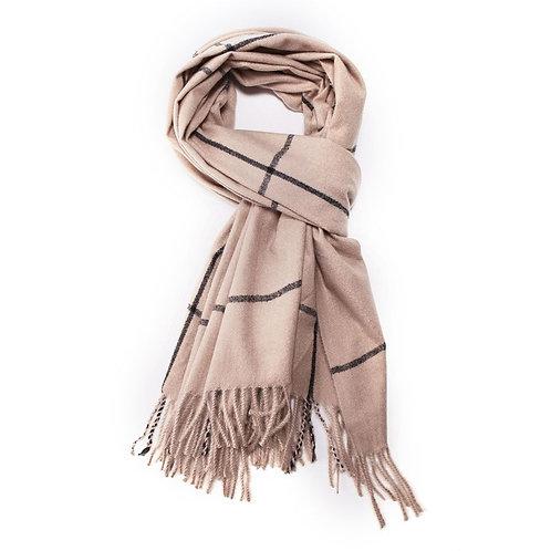 Super soft line print scarf - Beige
