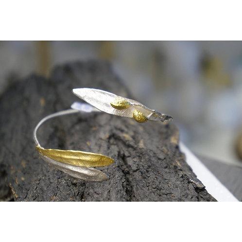Real Olive Branch and olive leaf Bracelet in sterling silver