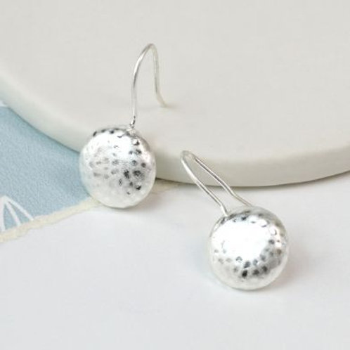 Silver plated worn finish hammered earrings