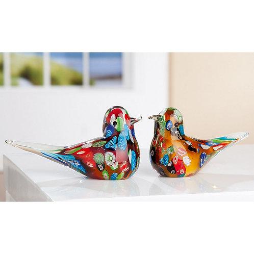 Floral Multi Coloured Glass Bird