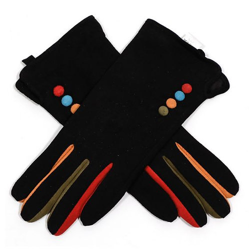 Suede Gloves with Colour Buttons - Black