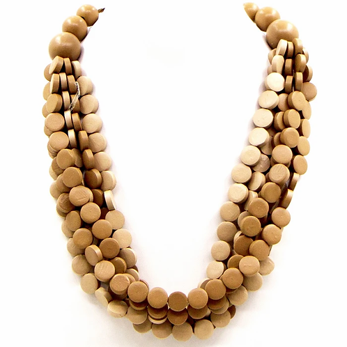 Multistrand button wood beads tonal necklace - Beige