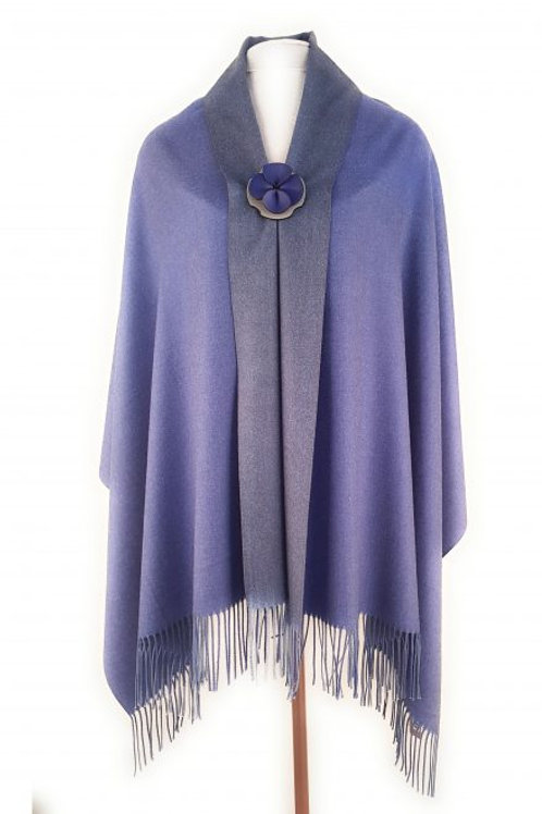 Luxury reversible pashmina - Indigo