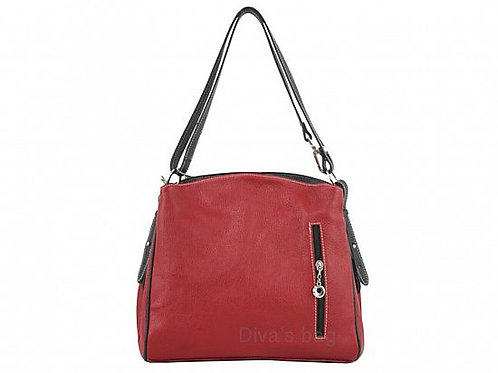 Compartment Italian Leather Shoulder Bag - Red with black
