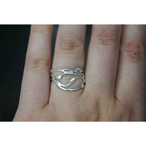 Size 18- Jasmine plant Twig Ring in Sterling Silver