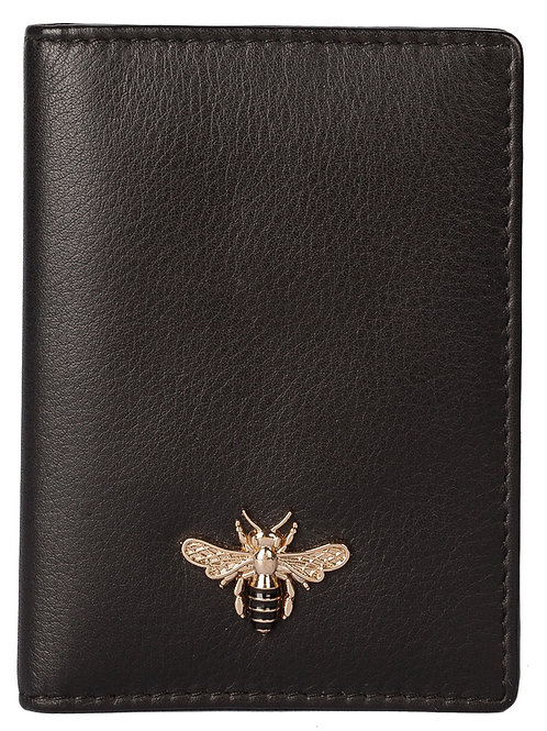 Black Leather Bee Card Holder