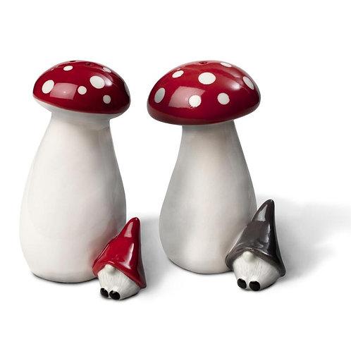 Salt and pepper Gnome on mushroom