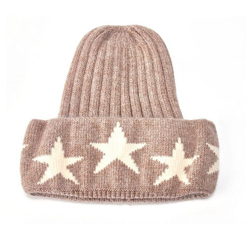 Knit Hat with Stars - Beige