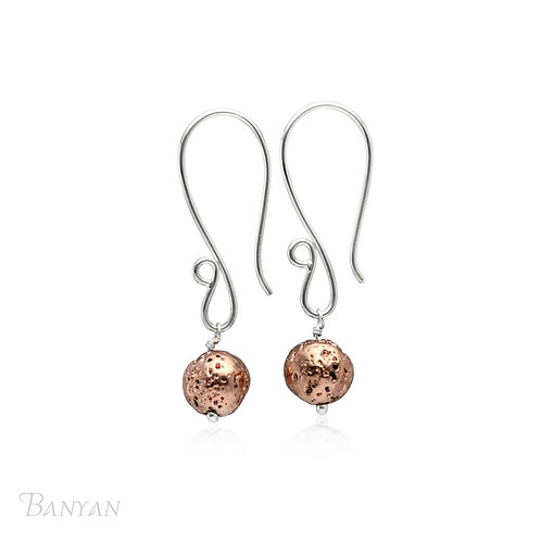Rose Gold Plated Lava Stone Drop Earring