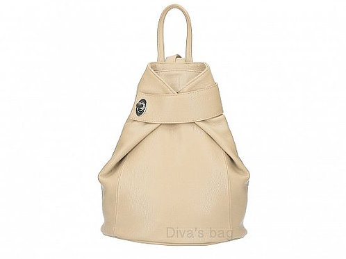Fold over Italian Leather Backpack - Taupe