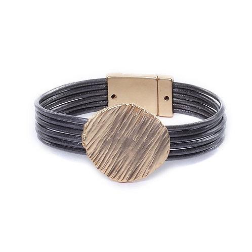 Dark grey magnetised bracelet with brushed gold disk