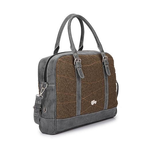 Brown Textured Wool Shoulder Laptop Bag