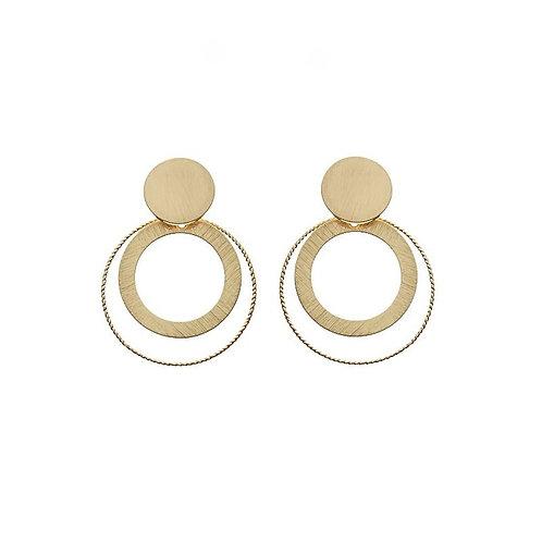 Gold plated matt finish overlapping circles drop earring