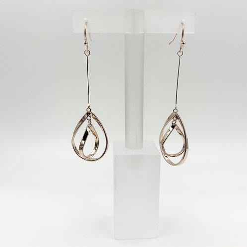 Drop teardrop double earring - rose gold