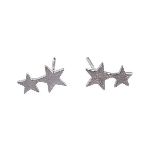 Twin Stars Stud Earrings Sterling Silver