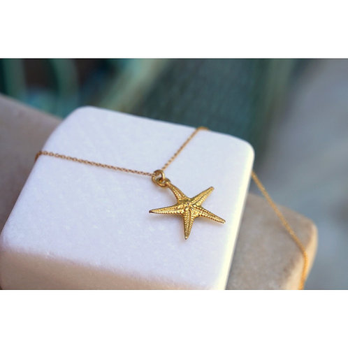 Gold Plated Sterling Silver Star Fish Pendant