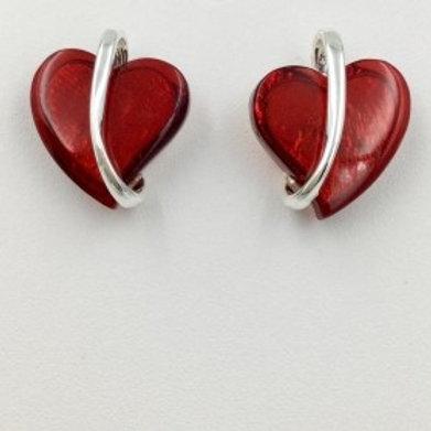 Red resin heart earring