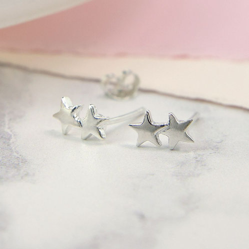 Sterling Silver Double Star Earrings
