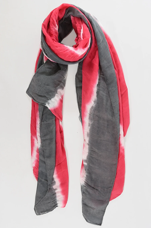 Colour Block Tie Dye Scarf - Fuchsia Grey