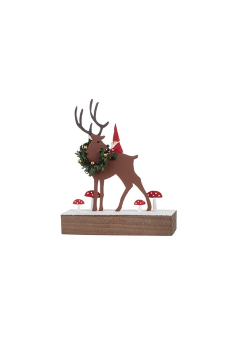 Gnome and Deer on a Wooden Block