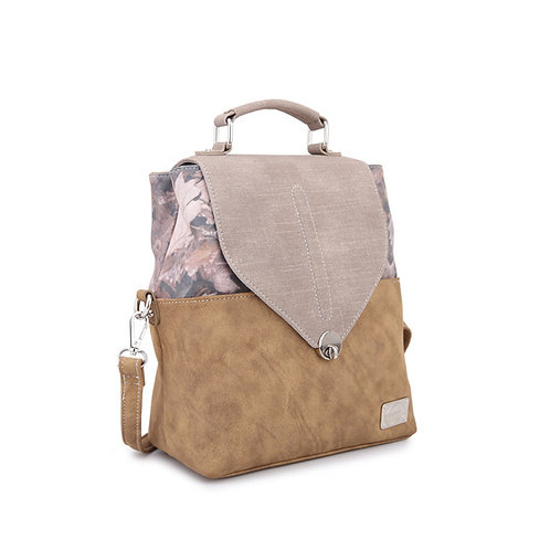 Beige Backpack with Leaf Fabric Details