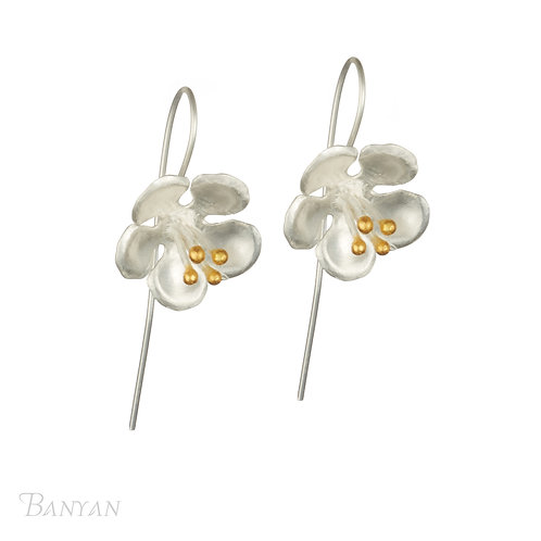 Full bloom longer hook silver earrings with gold plate