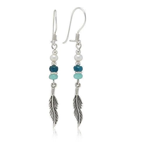 Sterling silver leaf drop earrings with beads