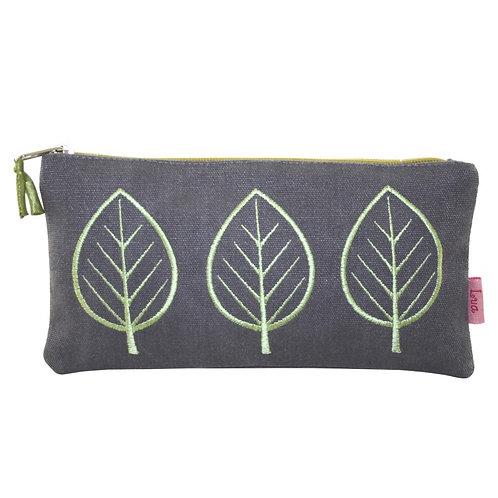 Embroidered Leaf Cosmetic Purse - Slate
