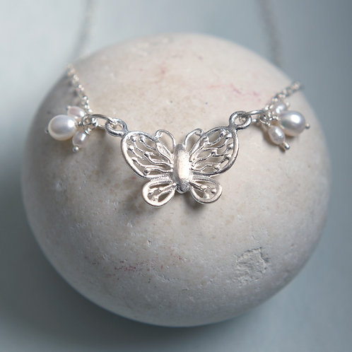 Sterling Silver & Pearl Butterfly Pendant