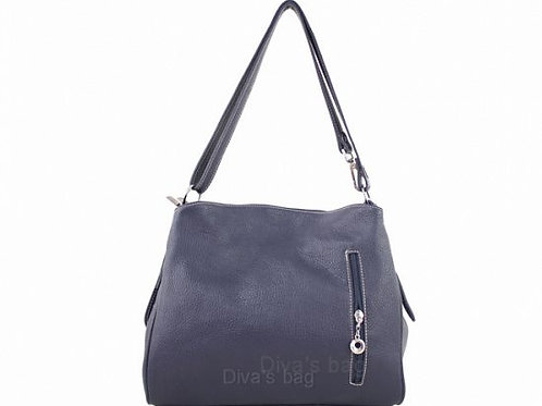 Compartment Italian Leather Shoulder Bag - Navy