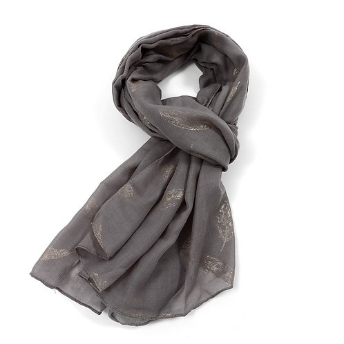 Gold Feathers Scarf -Dark Grey