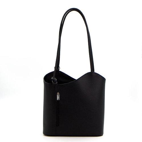 2 in 1 Leather Handbag/Backpack - Black