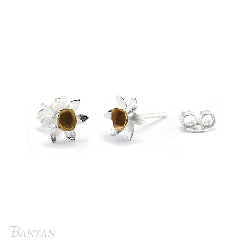 Sterling Silver and Gold Plated Daffodil Studs