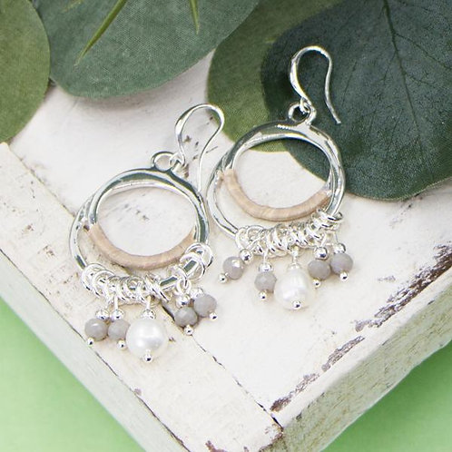 Open circle and multi beads fish hook earrings