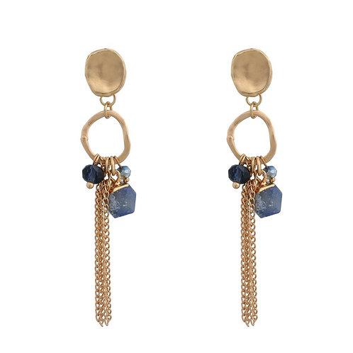 Matt Gold Chain Earrings - Blue