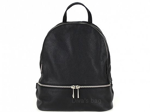 Italian Leather Backpack - Black