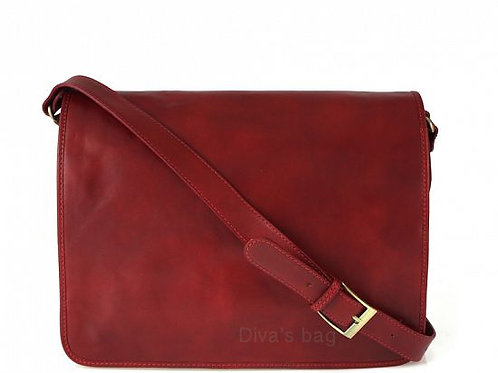 Large Messenger Bag - Red Italian Leather