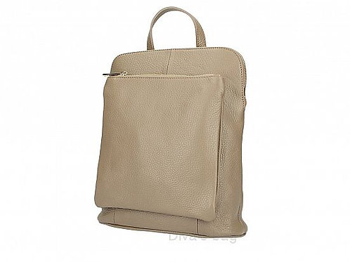 Taupe Slim Backpack with Large Front Pocket