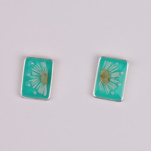 Rectangle Flower Resin Stud - Green