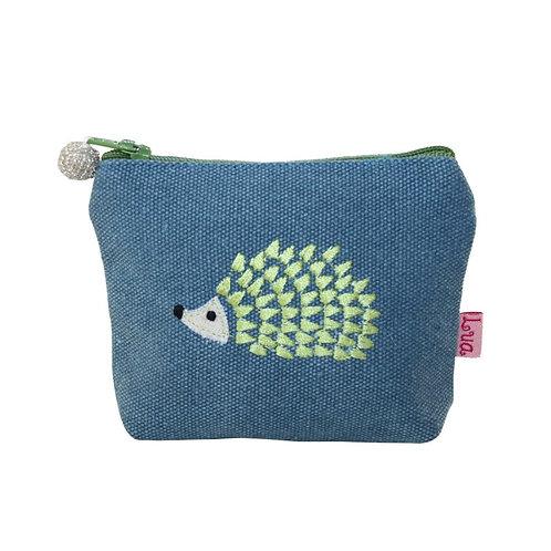 Embroidered Hedgehog Mini Purse - Petrol