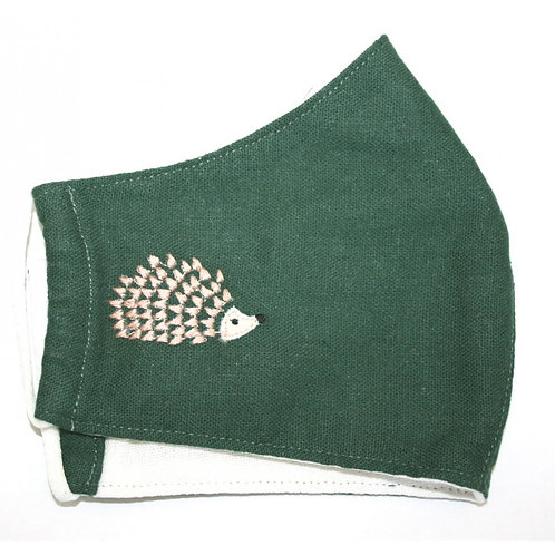 Hedgehog Tripple layer Face Covering -Green