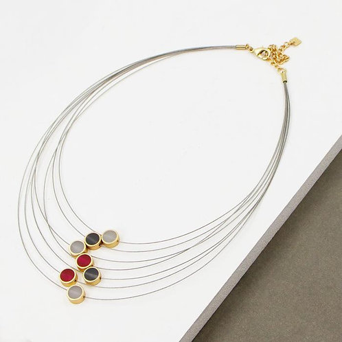 Contemporary multi wire necklace with resin inlay circles