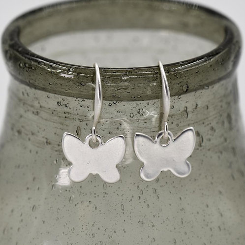 Matt Silver Butterfly Drop Earrings