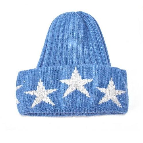 Knit Hat with Stars - Denim